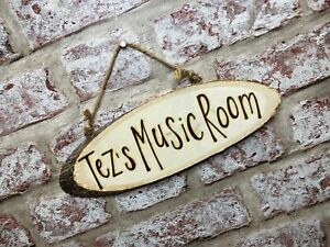 Hobby Workshop Gym Music Personalised Wooden Wall Door Plaque Hanging Sign Gift
