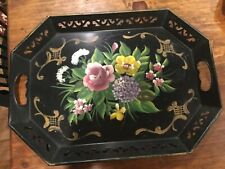 """Vintage NASHCO TOLE TOLEWARE TRAY 18"""" x 13 1/2""""Hand Painted **Nice**"""