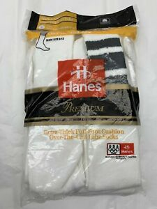 Vintage Hanes Extra Thick Full Cushion Foot Over The Calf Tube Socks Striped Whi