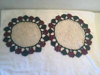 2 VINTAGE MATCHING CROCHET MULTICOLOR DOILIES ROUND APPROX. 12""