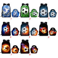 2PCS/Set Kids School Bags Football Print Backpack Lunch Tote Travel Rucksack Bag