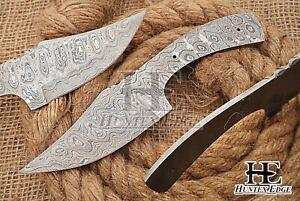 HUNTEX Custom Hand-Forged Damascus Steel 200 mm Long Full Tang Blank Blade Knife
