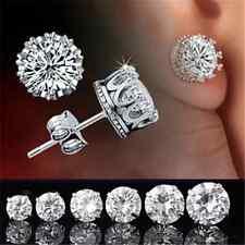 Attractive Men Women Crystal Crown Charm Earrings Silver Ear Studs Jewelry Gift