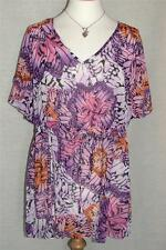 NEW GORGEOUS Floral Print Short Sleeve Batwing Chiffon Top SIZES from 14 to 22