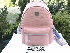 NWT MCM Ottomar Monogrammed Leather Backpack Pink Blush Italy Brand New