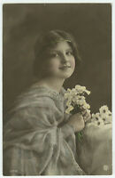 c 1912 Antique Children Child PRETTY YOUNG GIRL tinted photo postcard