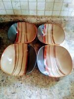 Set of 4 HomeTrends Stoneware, Brown Bazaar Pattern Soup/Cereal Bowl
