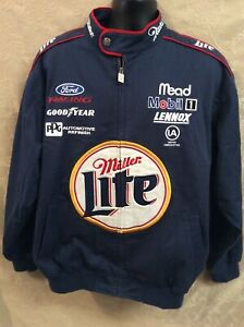 RUSTY WALLACE MILLER LITE Nascar Canvas Chase Authentics Jacket L Ford race blue