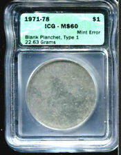 1971-78 Type 1 Eisenhower Dollar ICG MS-60-Blank Planchet-RARE MINT ERROR