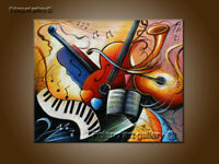 Modern Home Decor Music Abstract Oil Painting Wall Art on Canvas Handmade Art