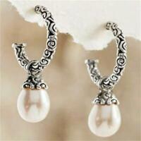 Vintage Pearl 925 Silver Earrings Women Classy Ear Hook Dangle Drop Jewelry*