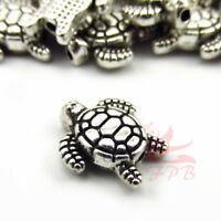 Turtle Beads 13mm Antiqued Silver Plated Spacer Beads SB0107836 - 8/15/30PCs