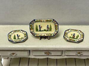 Vintage Artisan SE? Quimper Serving Tray & Plates Dollhouse Miniature 1:12