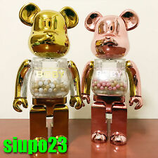 Medicom 400% Bearbrick ~ My First Baby Be@rbrick Pink Gold Silver 2pcs