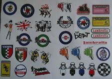 scooter themed mini stickers  vespa, lambretta ,ska, only £2.99 free post