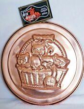 Old Dutch Design Kittens In A Basket Mold NWT Gelatin Decor Copper & Brass VTG