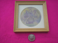 HAND MADE HORISCOPES FRAMED PICTURES 'LIBRA' PAINTED SILK MACHINE EMBROIDERY