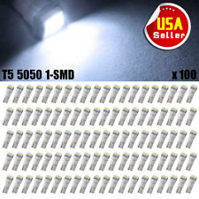 100PCS T5 Cool White Dashboard 5050 SMD LED Interior Instrument Wedge Bulb Light