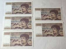 More details for 5 x 1983 france 20 francs banknotes unc & consecutive numbers 119046-119050