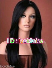Fashion wig New sexy ladies long Black Natural Hair wigs + wig cap gift