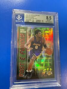 """2001-02 TOPPS CHROME #FF06 KOBE BRYANT """"FAST & FURIOUS"""" REFRACTOR LAKERS BGS 8.5"""