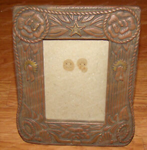 Western Tooled Leather Style Frame (Russ, 14629) Ceramic, 4x6 photo
