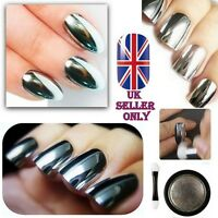 SALE Mirror Chrome Effect Nail Powder No Polish Foil Nails Art Glitter Silver