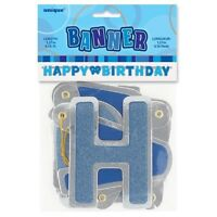 Blue Glitz Happy Birthday Banner Party Decorations 4ft String Letters