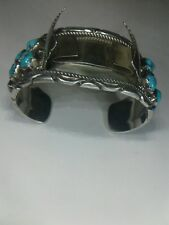 Mary & Richard Thomas Sterling Silver Watch Cuff w/14 Turquoise Stones.