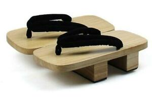 Japanese Geta Clogs Mens Bidentate Flops Wodden Heel Casual Sandals Shoes Slides