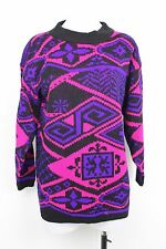 Vintage 80s Womens Sweater Classic Essentials Navajo Tribal Long Bright Knit M
