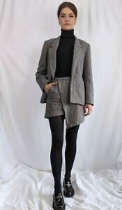 Vintage 1970s 2 piece checked suit asymmetrical skirt and blazer reworked S/M