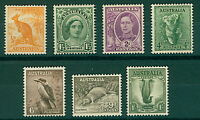 Australia 1948/50 range of definitive issues with 1/- no wmk (7v) Mint Stamp