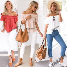 UK Womens Bardot One Off Shoulder Casual Frill Tops Loose Blouse Ladies T Shirt