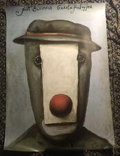 Polish 26x37 '89 strange Stasys Eidrigevicius art of clown!