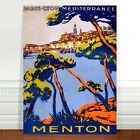 "Stunning Vintage Travel Poster Art ~ CANVAS PRINT 8x10"" ~ Mediterranean Menton"