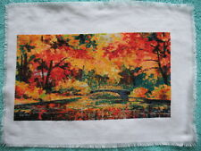 Hand made Embroidery Cross Picture Factory Art Tapestry Fancywork Red Autumn Lak