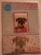 Cute Schnauzer Puppy Dog On your Birthday card & magnetic bookmark gift