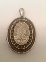Fine Victorian Sterling Silver Large Oval Engraved Hinged Locket