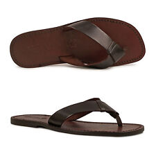 HANDMADE MENS LEATHER FLIP FLOPS SANDALS DARK BROWN MAN MADE IN ITALY