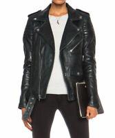 Women Leather Jacket Black Slim Fit Biker Motorcycle Lambskin