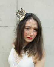 ad18a3c7c7ee8 Black Gold Ivory Pheasant Feather Birdcage Veil Fascinator Headpiece Vintage  U62
