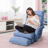 Folding Lazy Sofa Floor Massage Home Sofa Lounger Bed W/Armrests Pillow Blue
