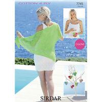 Sirdar Crochet Pattern - 7745 - Womens Wrap & Heart Bag - Cotton 4 Ply