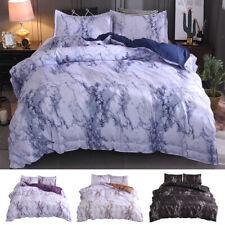 3 Pieces Marble Duvet Quilt Comforter Cover Set Zipper Closure Printed Bedding