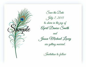 100 Personalized Custom Green Peacock Feather Wedding Save The Date Cards