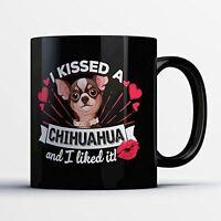 Chihuahua Coffee Mug - Kissed A Chihuahua - Adorable 11 oz Black Ceramic Tea Cup