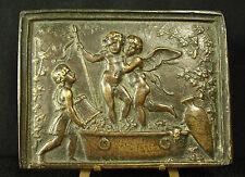 * Ancien bas-relief en bronze angelots vendangeurs Cherubs harvesters 829 g