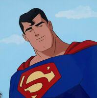 Superman Animated Series Production Cel and matching Drawing with WARNER COA