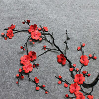 1 Pc Embroidered Plum Blossom Flower Patch Iron/Sew on Applique Motif Craft New.